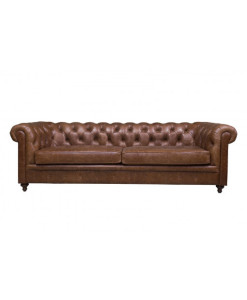 Sofá Chesterfield Couro Natural
