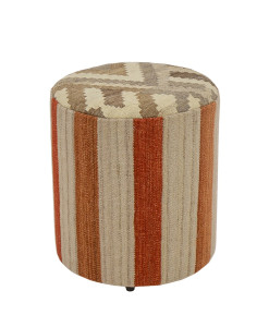 Puff Forrado Tamborim Kilim Stripes Red 2
