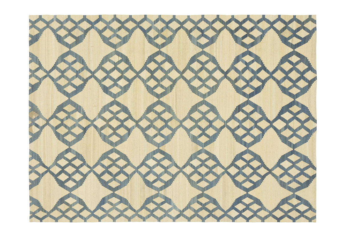 KILIM MOROCCAN 12 OFF WHITE BLUE